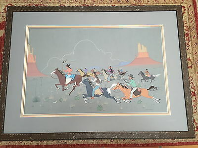 "Robert Chee Navajo Artist Original Painting ""first Day Squaw Dance"" 30"" X 41"""