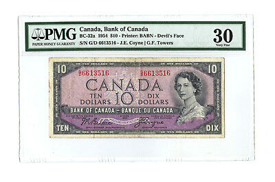 1954 $10 CANADA PMG 30 DEVIL'S FACE BC-32a BANKNOTE RARE S/N G/D 6613516