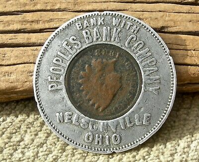 "1888 NELSONVILLE OHIO OH (ATHENS CO) RARE ""PEOPLES BANK"" ENCASED INDIAN HEAD 1c"