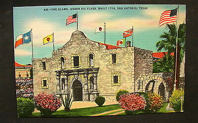 VINTAGE~~Texas Alamo Under 6 Flags Post Card-----unposted----free ship