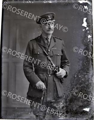 WW1 Brigadier General ? Fortascue -  original glass negative 22 by 16cm