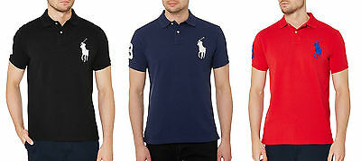 32c0f0e274652 COUPE AJUSTÉE (L) Polo-Ralph Lauren Marine Maille mi Queue de Cheval ...