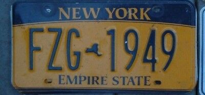 "NEW  YORK  license plate ""years on plates""  FZG - 1949"