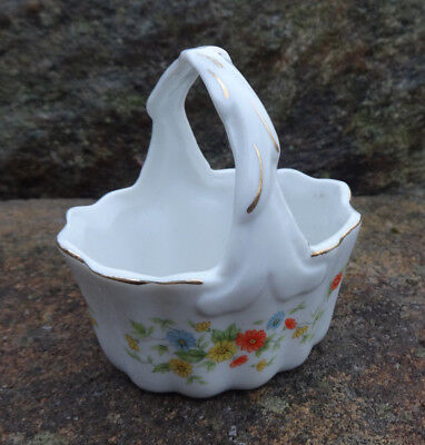 White Porcelain Basket-Shaped Open Salt Dip, Cellar, Dish w/Flowers!