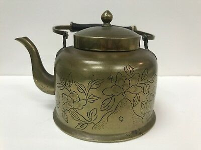 Antique Chinese Engraved Brass / Bronze Teapot
