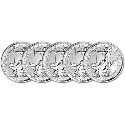 2019 Great Britain Silver Britannia £2 - 1 oz - BU - Five 5 Coins