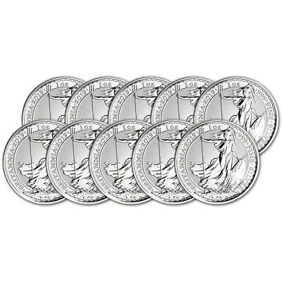 2019 Great Britain Silver Britannia £2 - 1 oz - BU - Ten 10 Coins