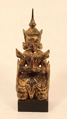 Thailand 19th c wood lacquer and gilt figure of a kneeling attendant