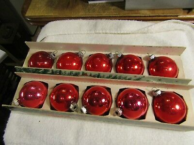 "Vintage Shiny Brite Glass Christmas Tree Ornaments 2 1/4"" Red Fanci-Pak Carton"
