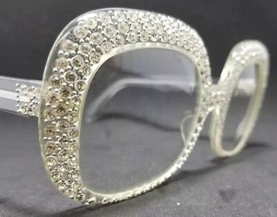 REVUE MJ4 Eyeglass Frames, Clear With Inset Rhinestones Vintage 80's France