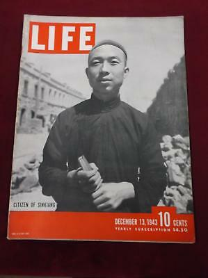"""December 13, 1943 LIFE MAGAZINE """"Citizen of Sinkiang"""" WWII Great Ads (C5)"""