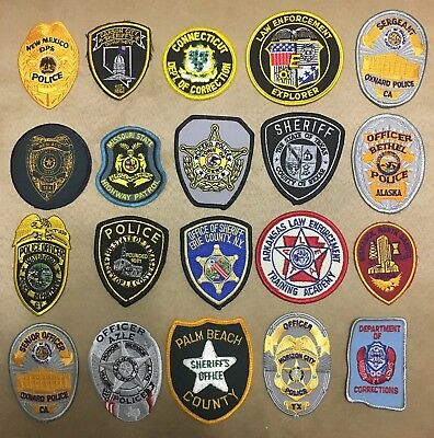 Lot Of 20 Police Sheriff Correction Vest Hat Patches Patch Unused