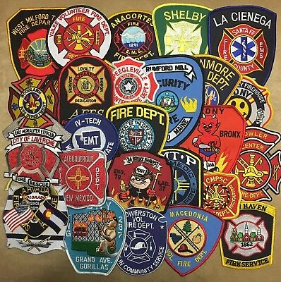 Lot Of 25 Fire Department Patches No Duplicates Unused Patch