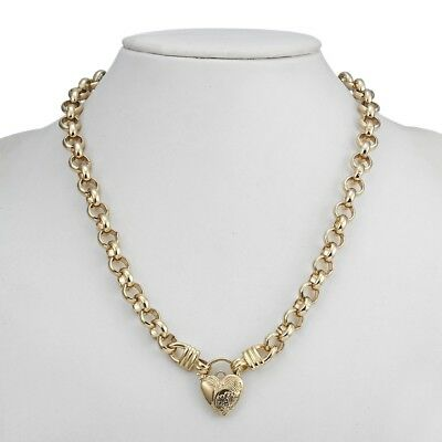 18K Yellow Gold GL Women's Solid CHUNKY Belcher Necklace & Combo Pattern Padlock