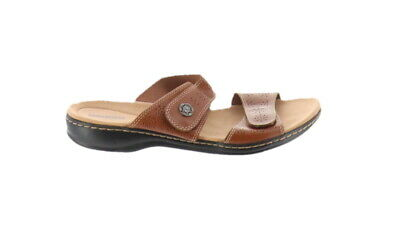 e7952834bf6 Clarks Leather Double Adjust Slide Sandals Leisa Lacole Tan 6.5M NEW A288925