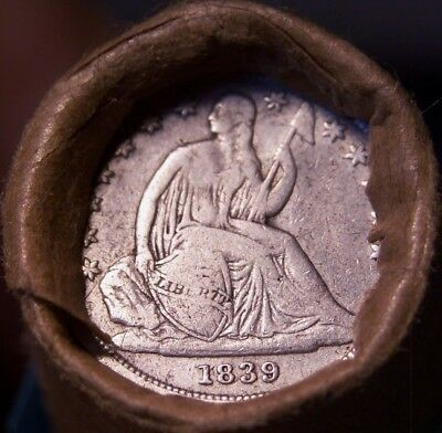 1839 Seated Dime/1898 Indian Ends Mixed Antique Roll As Shown In Pictures #9747