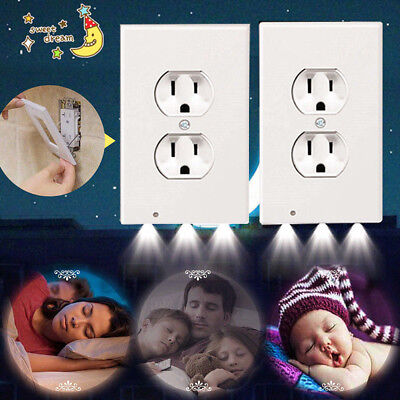 US 2 Plug Wall Outlet Cover Plate With LED Night Light Hallway Bedroom Bathroom
