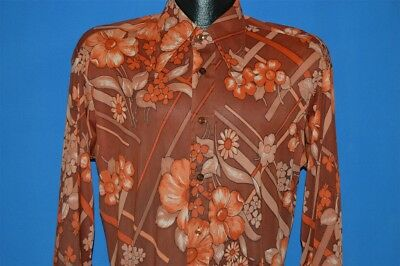 vintage 70s BAMBERGERS RED FLOWERED BIG COLLAR ACETATE MENS DISCO SHIRT LARGE L
