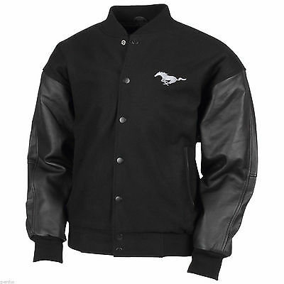 Licensed New Ford Mustang Pony Wool And Leather Black Varsity Jacket Size 3Xl