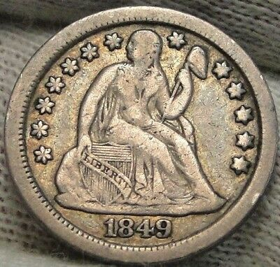 1849 O  Seated Liberty Dime, 10 Cents. Key Date 300,000 Minted, Nice Coin (7674)