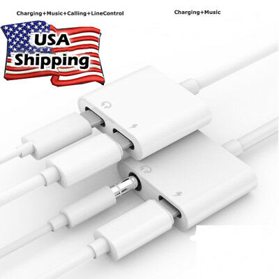 3.5mm Aux Audio Adapter Converter Charging Cable Cord For iPhoneX Xs MAX 8 White