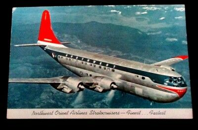 Vintage 1950s chrome postcard of Northwest Orient Airlines Stratocruisers