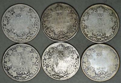Canada King George V 25 Cents Lot of 6 Silver Coins