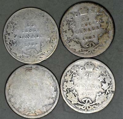Canada King Edward VII 25 Cents and 1858 20 Cents-no date- Lot of 4 Silver Coins
