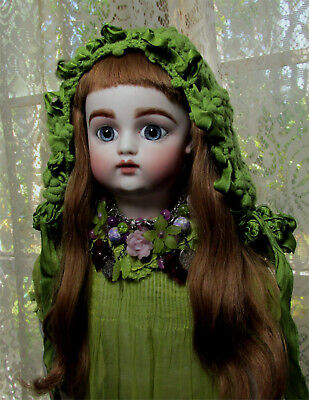Beautiful Reproduction F&G doll French bebe PW eyes human hair antique clothing
