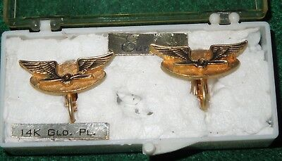 WWII US Army Air Force Wing Prop Earrings Pair Lot 14K Gold Plated
