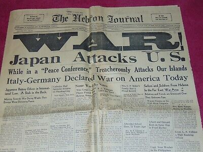 Dec 1, 1941 Hebron, Thayer County Neb. Newspaper: Wwii Japan Bombs Pearl Harbor