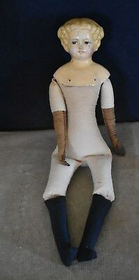 Rare Antique Papier Mache Blonde Molded Hair Doll - Mid-1800's - Cloth Body