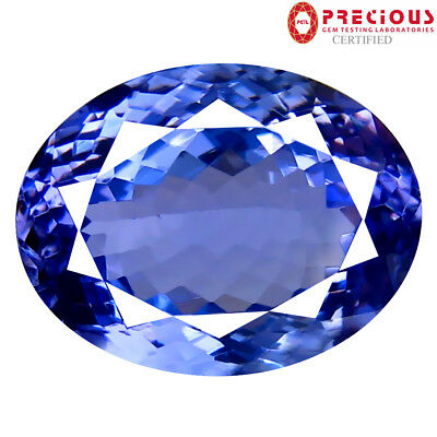 5.27 ct PGTL Certified Premium Oval Shape (13 x 10 mm) Bluish Violet Tanzanite
