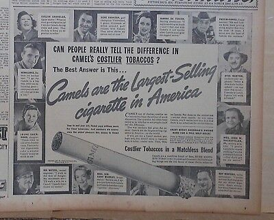 1937 newspaper ad for Camel cigarettes - Gene Sarazen, Herb Lewis and more
