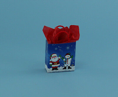1:12 CUTE Dollhouse Miniature Christmas Gift Bag with Tissue Paper #HCB3