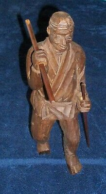 Hand Carved Wood Folk Art Old Asian Man Kungfu Karate Walking Stick Staff Cane
