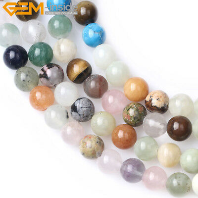 "Round 8mm Mixed Gemstone Assorted Stone Beads For Jewelry Making Strand 15"" DIY"