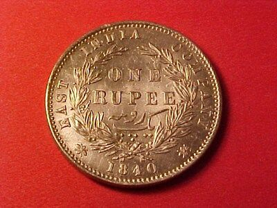 British East India Company 1 Rupee Silver 1840 Victoria Ww Raised (Cleaned)