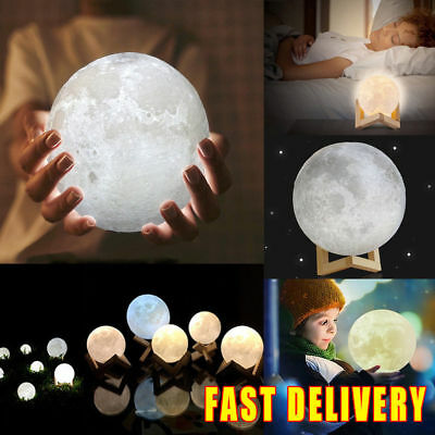 3D Printing Moon Lamp USB LED Night Light Moonlight Touch Color Changing 10-22CM