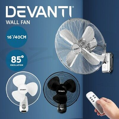 DEVANTi 40cm 16'' Oscillating Wall Mounted Fan Remote Control Sleep Mode Cooler