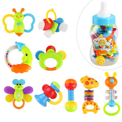 9pcs Baby's First Rattle and Teether Toy with Giant Milk Bottle Grasp Toy