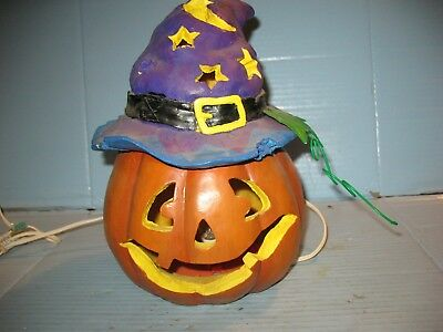 "Halloween 10"" Lighted Pumpkin With Purple Witch Hat Mold"