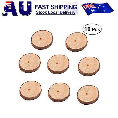 100x Natural Wood Slices Round Disc Tree Bark Log Wooden Circles for DIY Craft