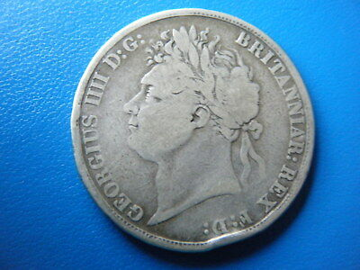 King George Iv: 1821 (Secvndo) Silver Crown - Quite Worn, Basic Details Clear!