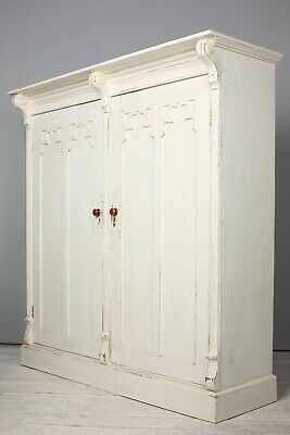 Victorian Gothic Painted Pine Hall Cupboard