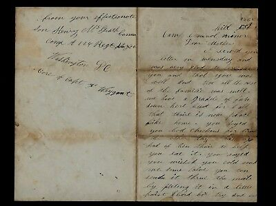 124th New York Infantry CIVIL WAR LETTER from Camp Cromwell at Arlington, VA
