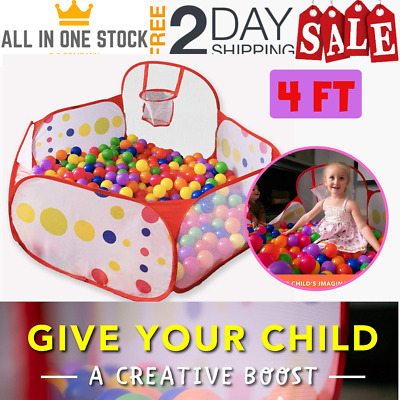 Ball Pit Tent Toddlers Kids with Basketball Hoop & Storage Bag Indoor/ Outdoor