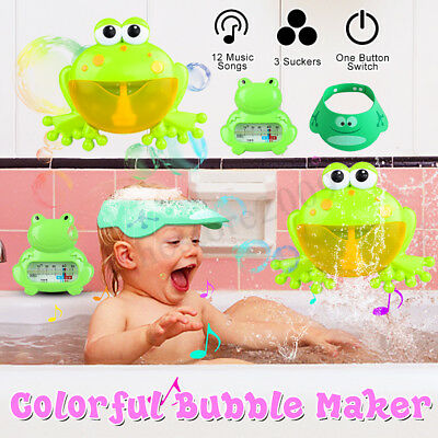 Automatic Bubble Maker Machine Shower Bath Kids Toy+Thermometer+Shampoo Cap