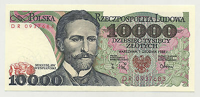 Poland 10000 Zlotych 1-12-1988 Pick 151.b UNC UNCIRCULATED SERIE DR