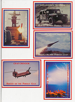 Heroes Of The Persian Gulf - Set 5 Trading Cards - Lime Rock Usa 1991 - Militär